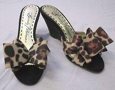 "BEVERLY FELDMAN ""Dare"" Black Raffia Wedges with Leopard Print Bow - Size 6M"
