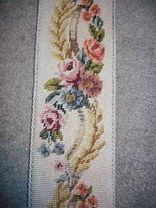 "Antique 72"" Bell pull Needlepoint floral Brass hook top beautiful tassel"