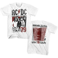 ACDC Mens New T-Shirt Two Sided 79 Highway To Hell 100% White Cotton in SM - 5XL