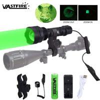 VASTFIRE 350 Yard LED Green Flashlight Hog Night Predator Torch Hunting USB Lamp
