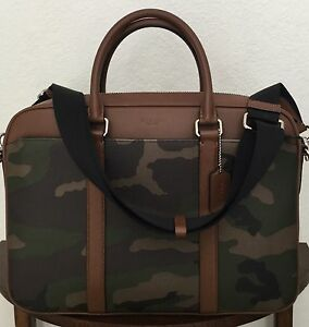 COACH F55136 Slim Briefcase Perry Green Camouflage Printed Coated Canvas NWT