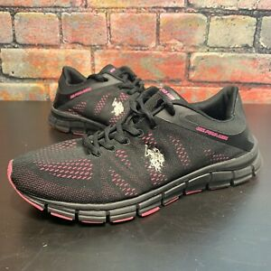 US Polo Assn. Black/ Pink Athletic Running Shoes Womens size 9