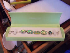 "NIB Coldwater Creek Sterling Silver 925 Abalone Organic Inlay Bracelet 7""- 8"""