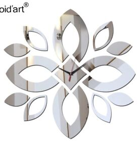 """NEW 18""""-24"""" DIY 3D Silver Petals Mirrored Surface Wall Clock Acrylic Stickers"""