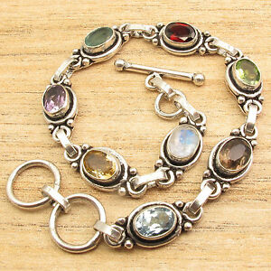 Jewelry Wishlist !! 925 Silver Overlay Multi Stone, Multi Color Bracelet 8""