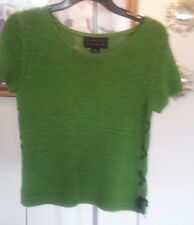 Finity Studio Lime Green Knit with Leather Lace Up Sides size Medium