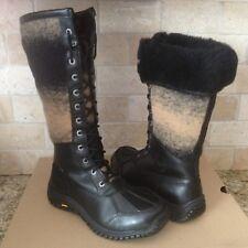 UGG Adirondack Tall II Black Waterproof Leather Snow Boots Size US 8.5 Womens