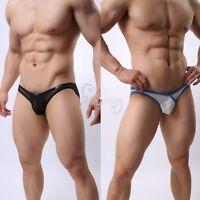 Men Lingerie Mesh Openwork Bulge Pouch Summer Beachwear Bikini Briefs Underwear