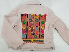 ZARA Tribal Ethnic Embroidered Pink Leather Jacket With Pom Pom Large L