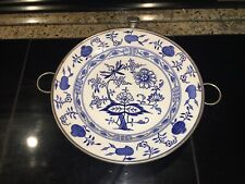 VINTAGE BLUE ONION PATTERN WARMING DISH. MADE IN GERMANY. 9 1/2 INCHES WIDE