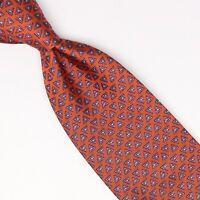 John G Hardy Mens Silk Necktie Orange Purple Gold Triangle Geometric Weave Woven