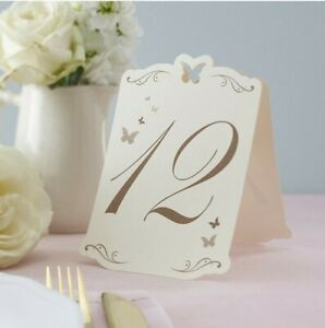 Ginger Ray Butterfly Table Wedding Ivory and Gold, Numbers 1-12