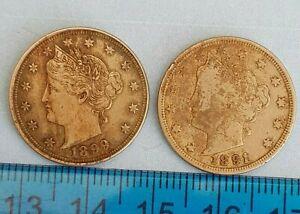 2x USA Liberty Nickels 1891 + 1899 (ref #25)