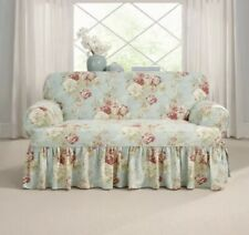 WAVERLY Sure Fit Ballad Bouquet Floral one-piece Loveseat Slipcover Robins Egg