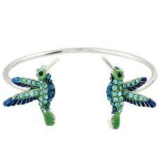 Hummingbird Cuff Bracelet - Sparkling Crystal -  Enamel - Rhodium Plated