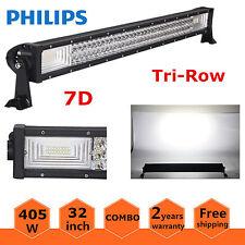 """7D Tri-Row 32"""" 405W Philips LED Work Light Bar Spot Flood Lamp Truck Jeep 180W"""