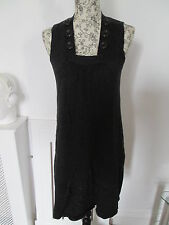 VOIR COLLECTION - BLACK 100% COTTON  Micro Mini SLEEVELESS JUMPER dress  size S