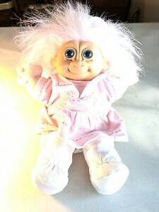 "Vintage Russ Troll 12"" Cloth Doll in Pink Dress Outfit Blonde Hair  #2319"