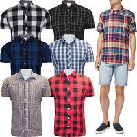 New Mens Short Sleeve Button Up Work Formal Shirt Casual Check Shirt Top