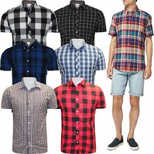 New Mens Short Sleeve Button Up Work Formal Shirt Casual Check Shirt Top