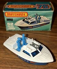 BNIB Lesney 1976 Matchbox Superfast #52 POLUCE LAUNCH. Vintage Diecast Boat