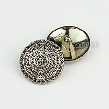 12pcs Bronze Silver Round Metal Shank Buttons Coat Sewing Flower Vintage Button