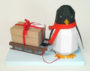 """A4 Card Making Templates - """"Pogo"""" 3D Penguin & Display Box by Card Carousel"""
