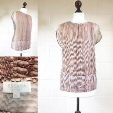 Escada Nude Piel De Serpiente Color Rosa Print Top camiseta en capas de seda Chifón UK8 XS (au)