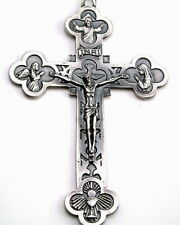 """NEW MADE IN ITALY LOVELY CATHOLIC HANGING CRUCIFIX OXIDIZED SILVER METAL  5"""""""