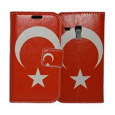 Book Case Handyhülle Schutzhülle mit Türkei Flagge für Samsung Galaxy S3 Mini