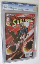 SUPERGIRL #1 NEW 52 (Kara Zor-El) CGC 9.2 NM- Superman Appearance 2nd Print 2011