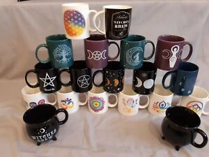 Ceramic mug, magic, witch, pagan, spiritual, coffee mug, pentagram, om, goddess