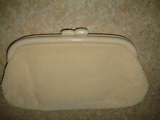 VINTAGE CREME BEADED CLUTCH PURSE WITH ORIGINAL MIRROR INSIDE MADE IN JAPAN