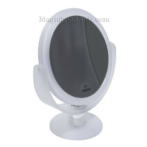 8X & 3X Double Vanity Frosted White Magnifying Mirror for Low Vision Easy to See