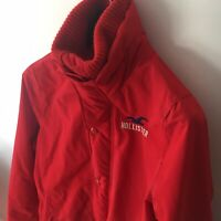 Hollister XL Red Lightweight Raincoat Jacket Unisex Wool Lined Neck Breathable