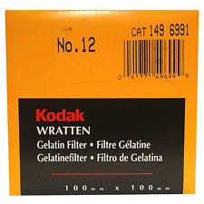 Kodak Wratten gelatin filtro. 100 x 100 mm. no. 12 Cat 149 6991