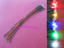 20pcs, 3mm Red Yellow Blue Green White 9V 12V DC Pre-Wired Water Clear LED 20CM