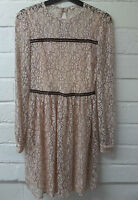 Womens Ladies New Short Pink Lace Black Contrast Swing Flare Skater Dress UK8-16