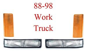 88 98 Chevy GMC 4PC WORK TRUCK Front Light Set Parking & Side Amber Sealed Beam