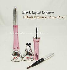 1 PC Italia Deluxe Black Liquid Eyeliner + Dark Brown Eyebrow Pencil