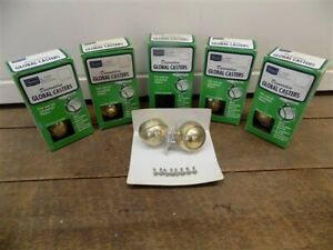 NOS Sears Decorative Global Casters Mounting Hardware Plated Polished Brass a