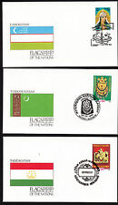 17929/ UNO Flaggen der Nationen - 3 Umschläge - Usbekistan, Turkmenistan, Tadsch