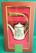 Lenox Holiday Coffee Pot Ornament ~ Holly & Berry Pattern ~ New in Box