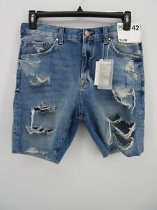 Bershka Zara Men Blue Cotton Distressed Ripped Slim Fit Denim Jean Shorts sz 32