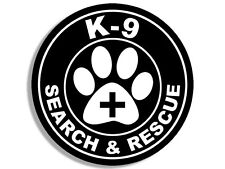 4x4 inch Round K-9 SEARCH & RESCUE Seal Sticker - logo decal dog paw sar service