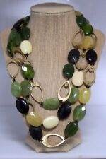 GOLD GREEN NECKLACE BLACK CREAM 3 STRAND FACETED OUTSTANDING EUC