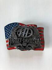 Harley Davidson American Flag belt buckle 1989 Harmony Design