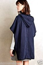 NEW Anthropologie navy blue Hei Hei Hooded Utility Cape Poncho Jacket XS/S $188