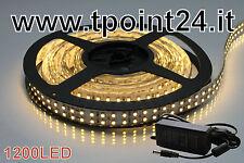 STRISCIA LED 5METRI DOPPIA FILA SMD3528/1200 LED  BIANCA CALDA + ALIMENTATORE