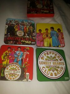 Set Of Four Beatles Coasters Sgt Peppers Lonely Hearts Club